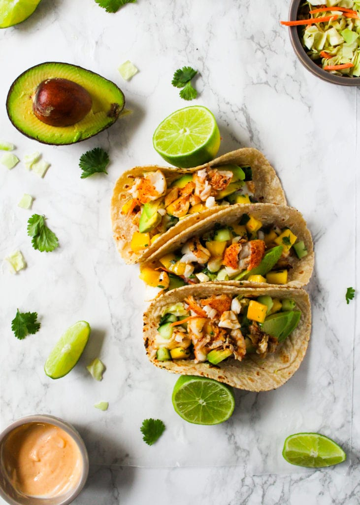 Fish tacos with cod and mango salsa cooking therapy for Fish tacos cod