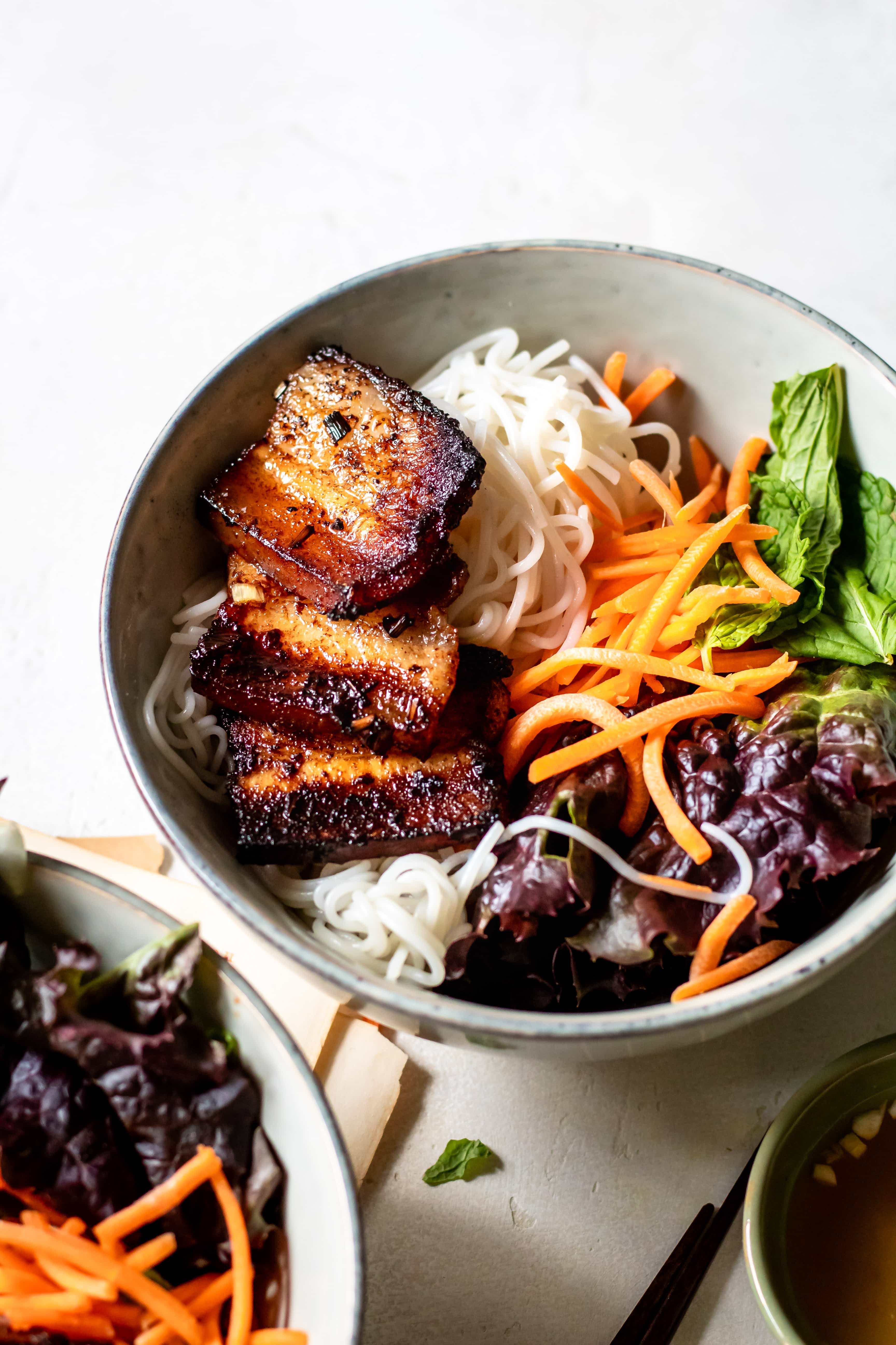 cinnamon pork belly vermicelli bowl