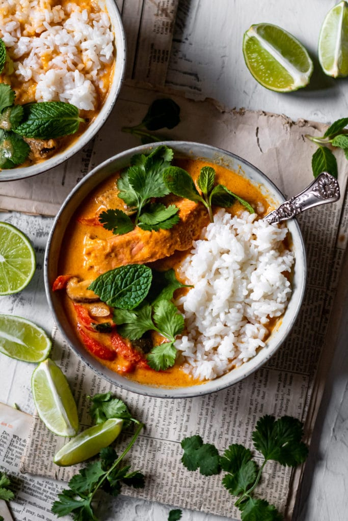 thai red curry with salmon