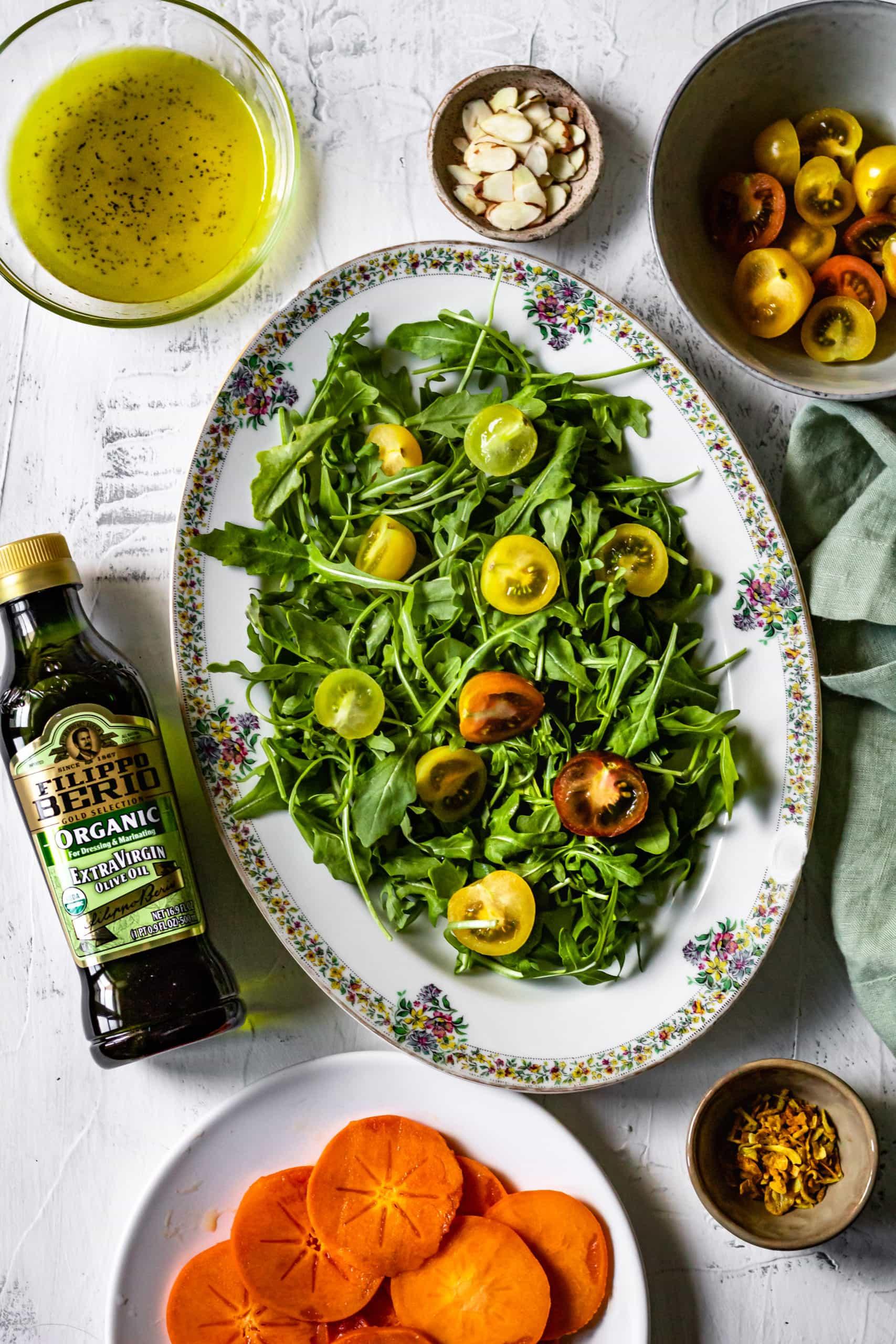 ingredients for winter persimmon salad