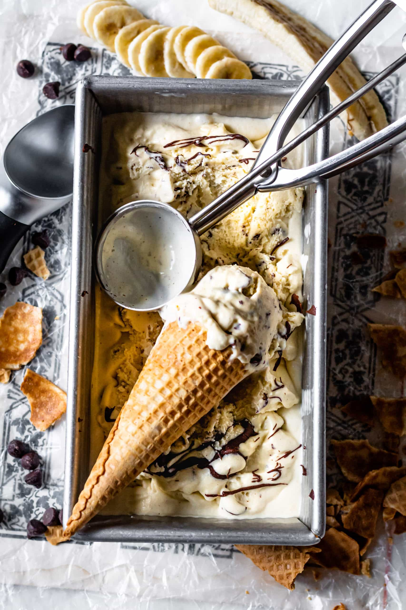 banana stracciatella ice cream