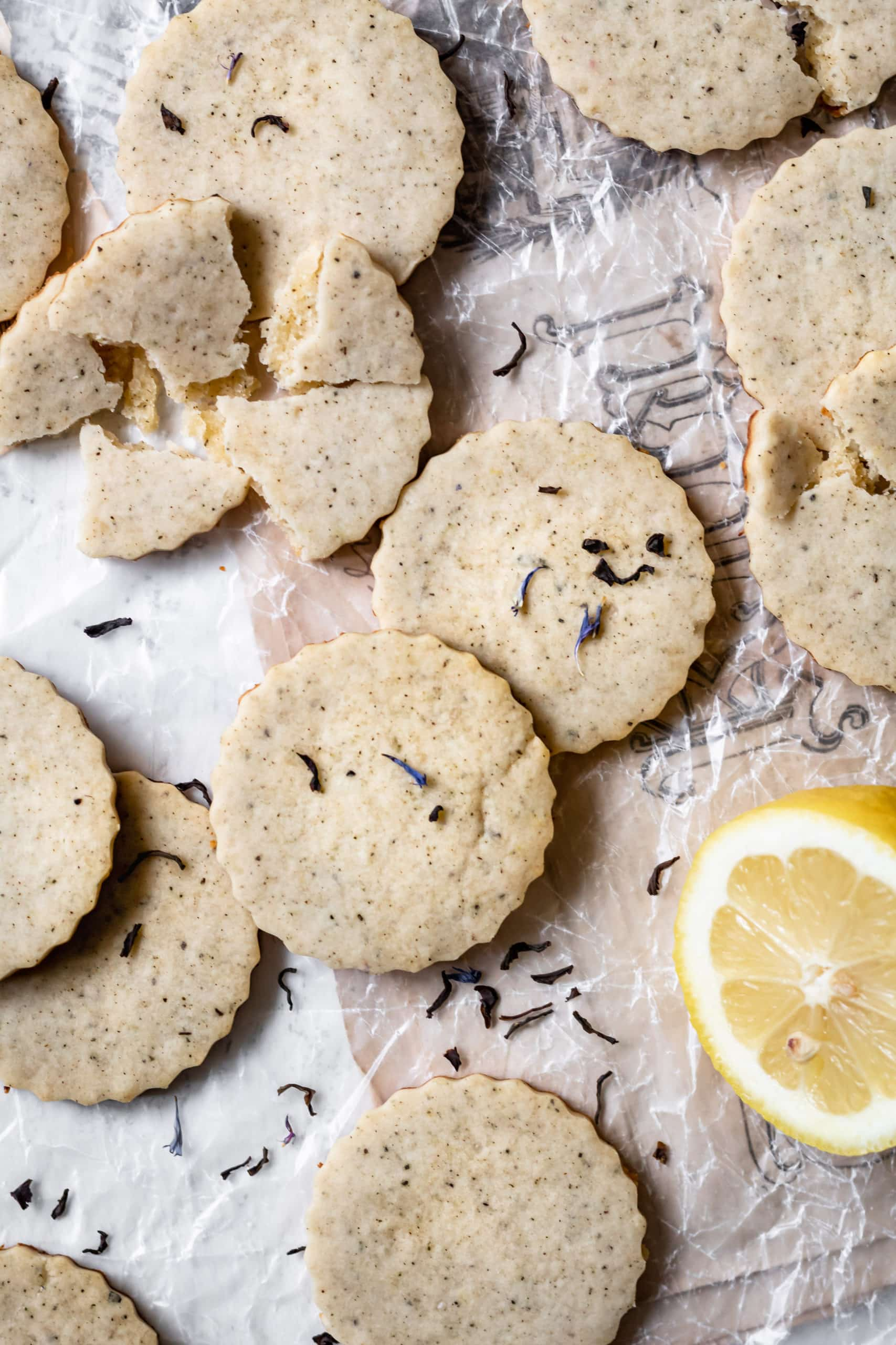 lemon earl grey shortbread cookies