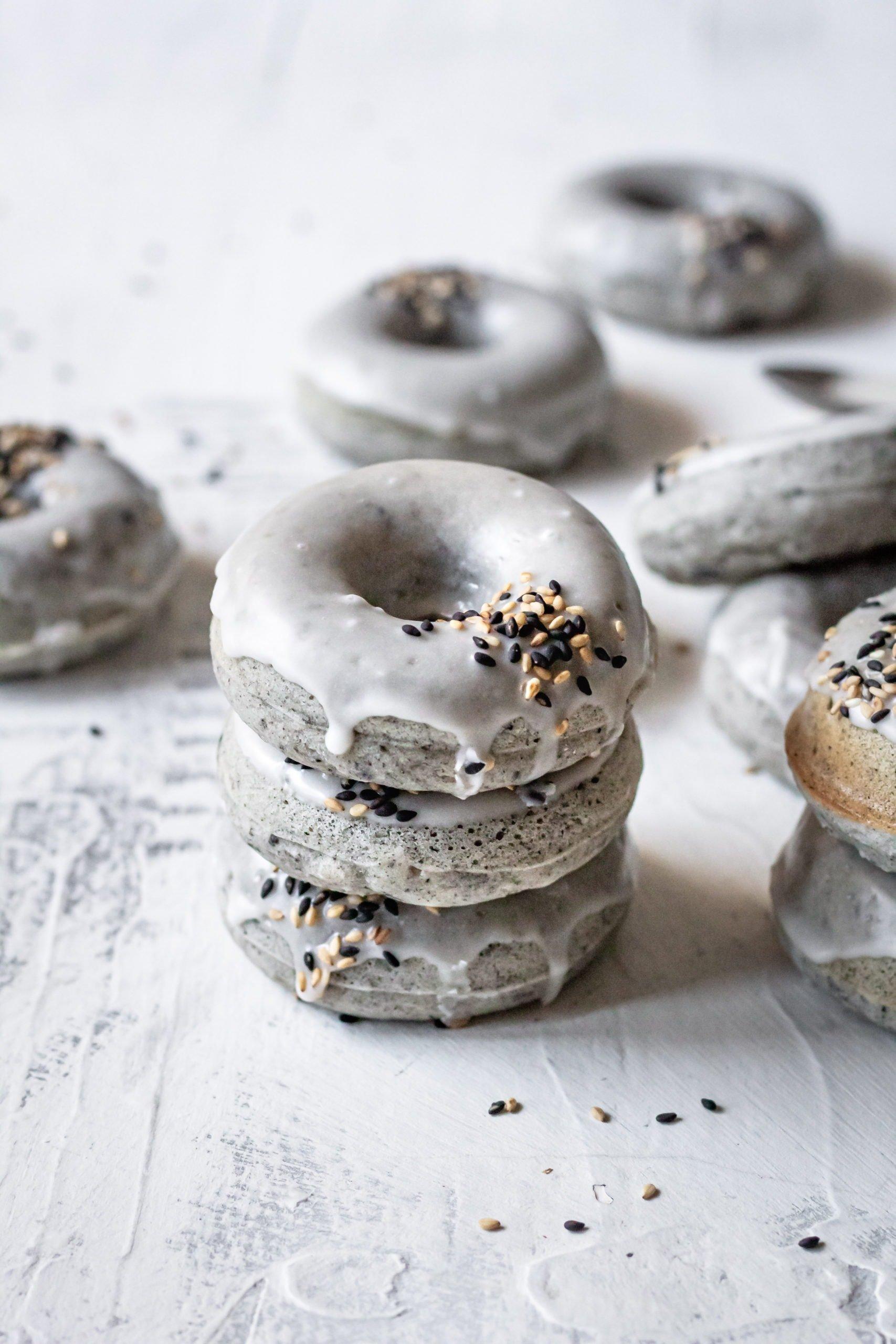 black sesame mochi donuts