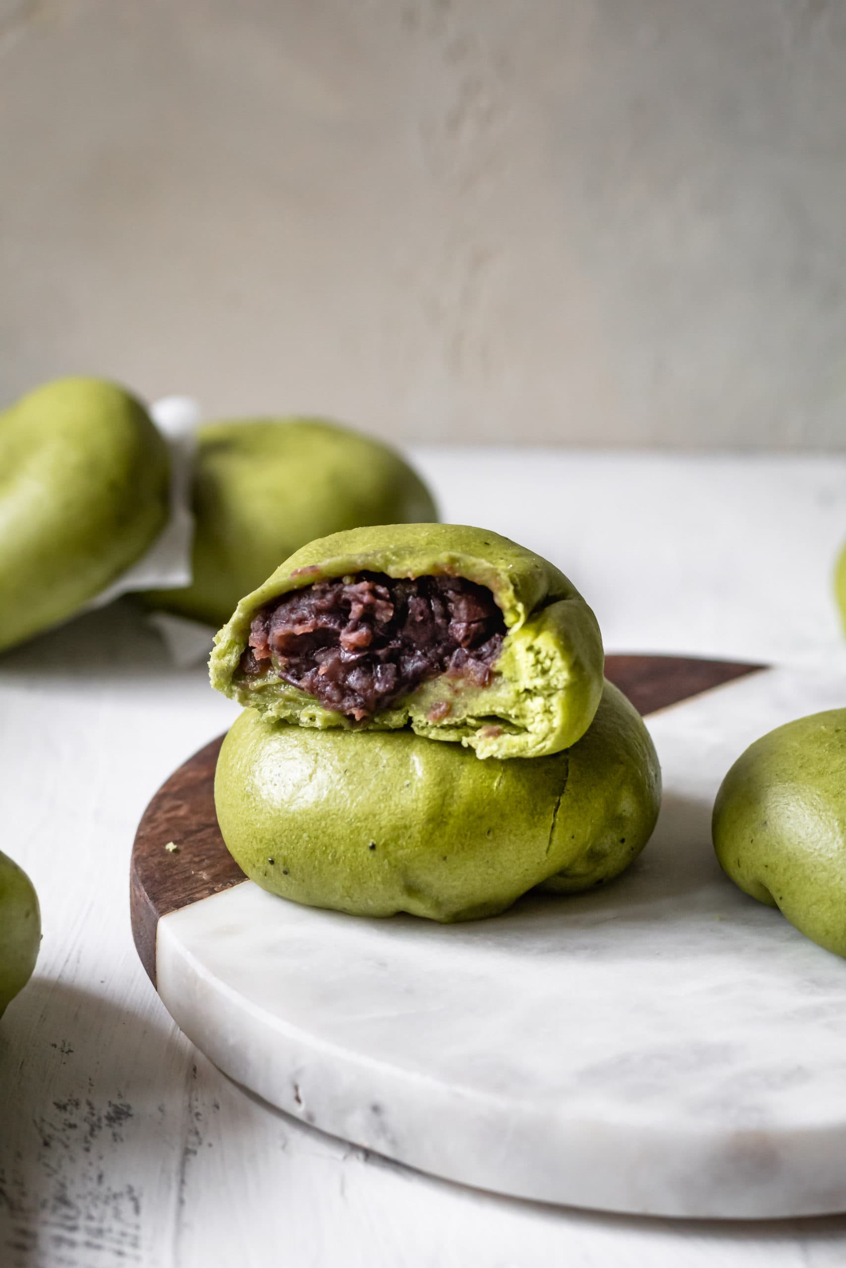 Matcha Red Bean Buns - Cooking Therapy