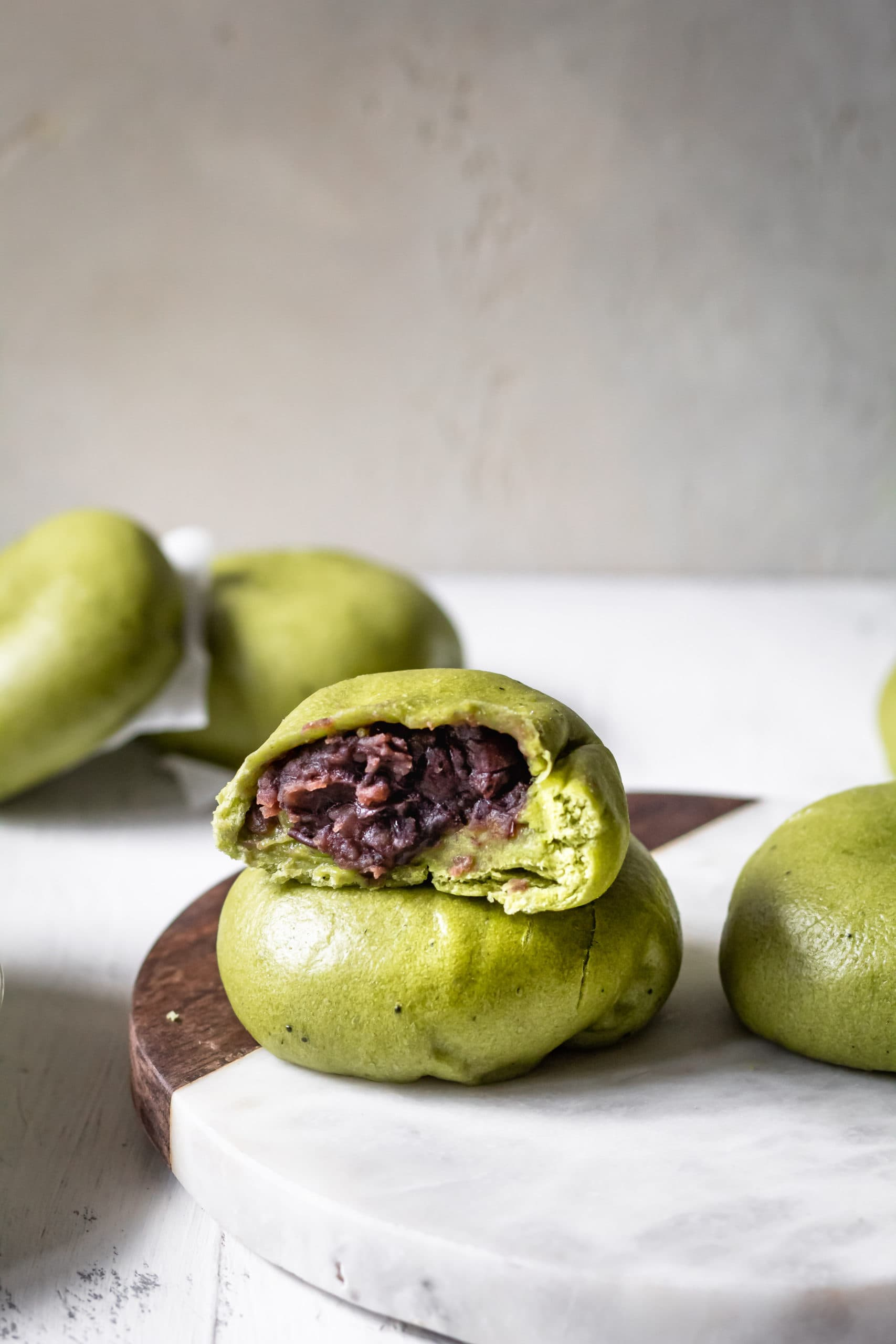 matcha red bean buns
