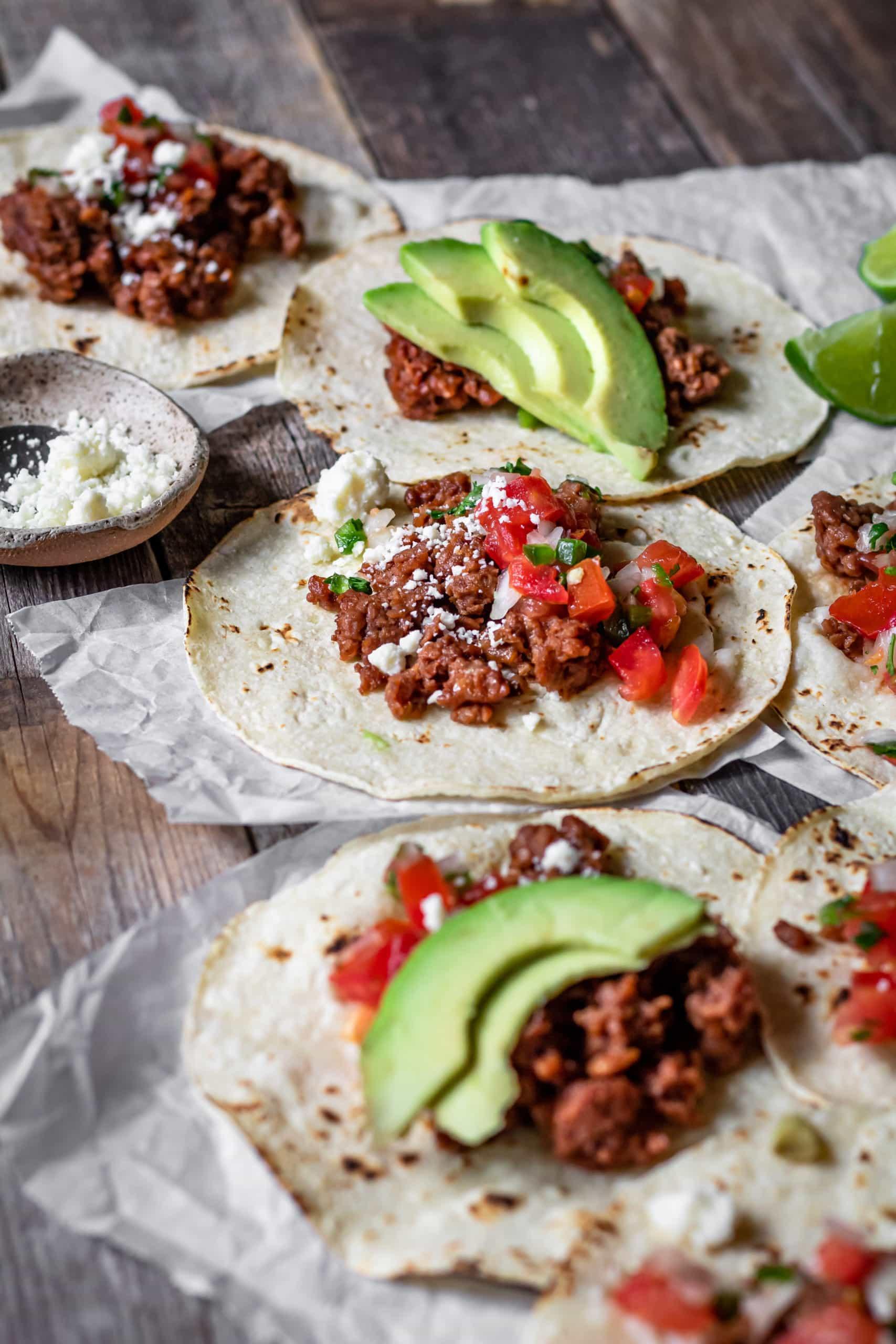vegetarian ground beef tacos