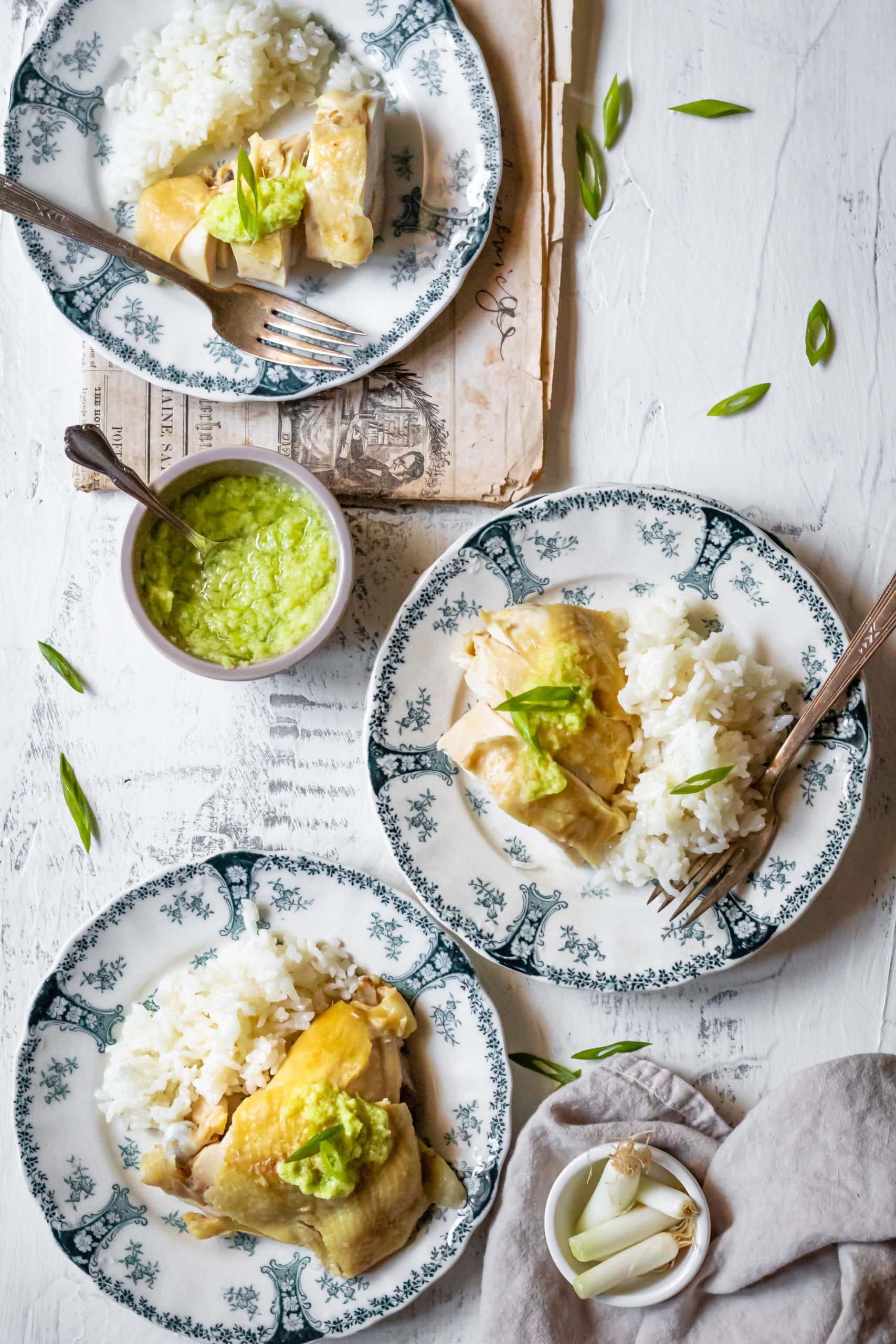 Chinese steamed chicken with ginger scallion sauce