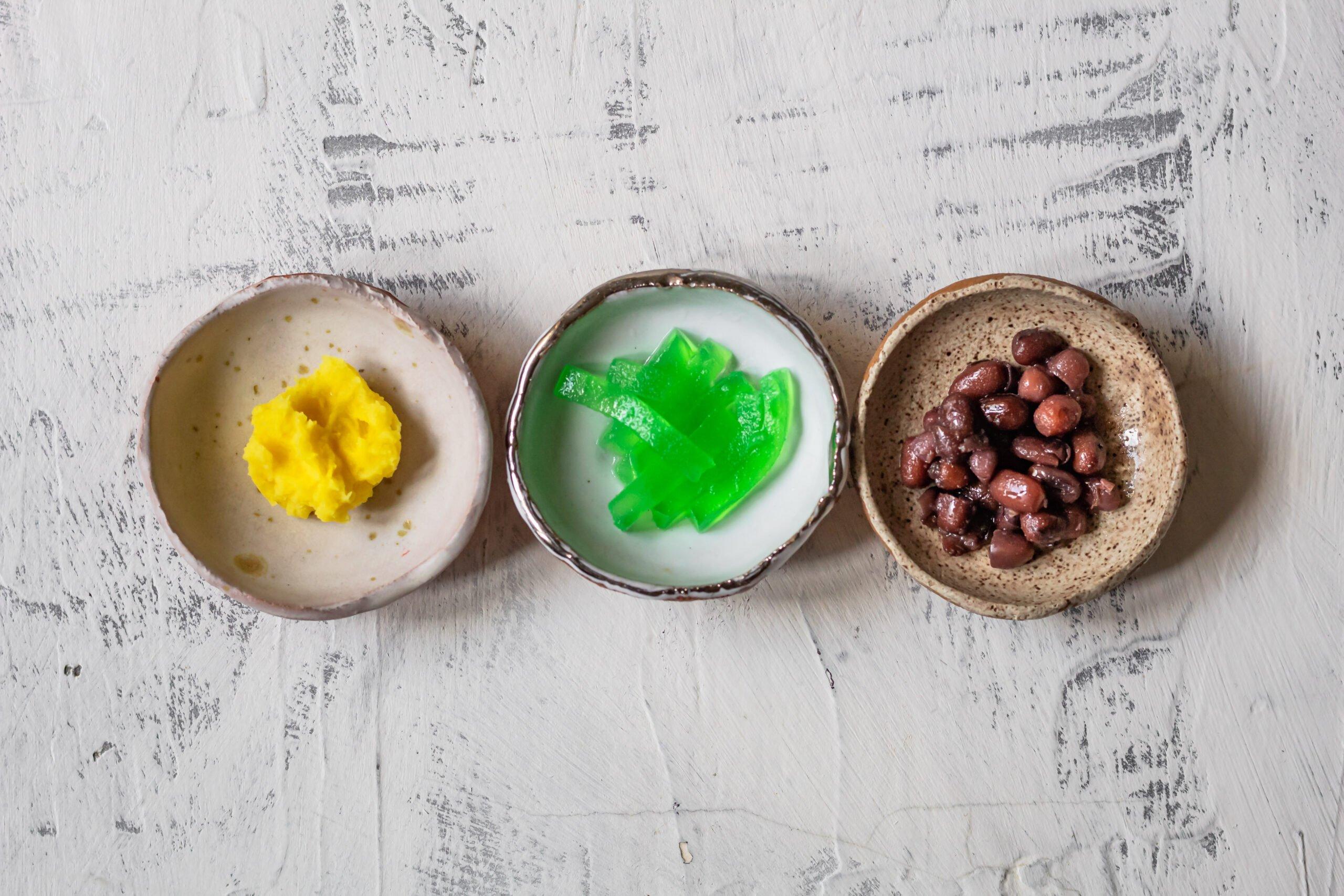 mung beans, pandan jelly, and adzuki beans