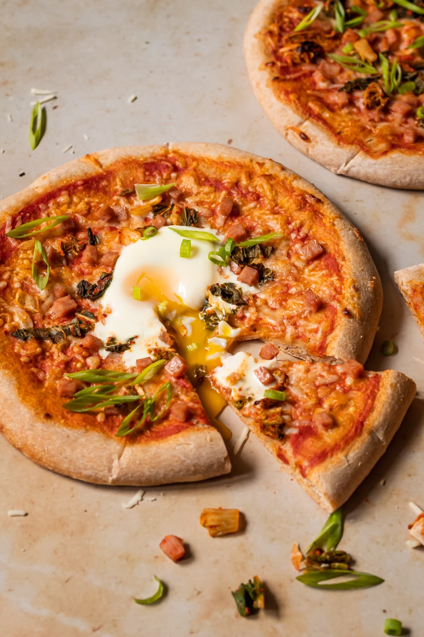 kimchi spam pizza