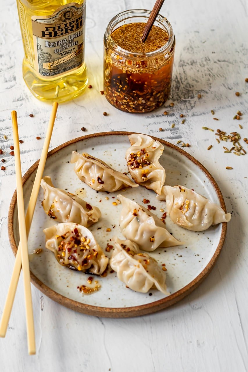 lemongrass chili oil on dumplings