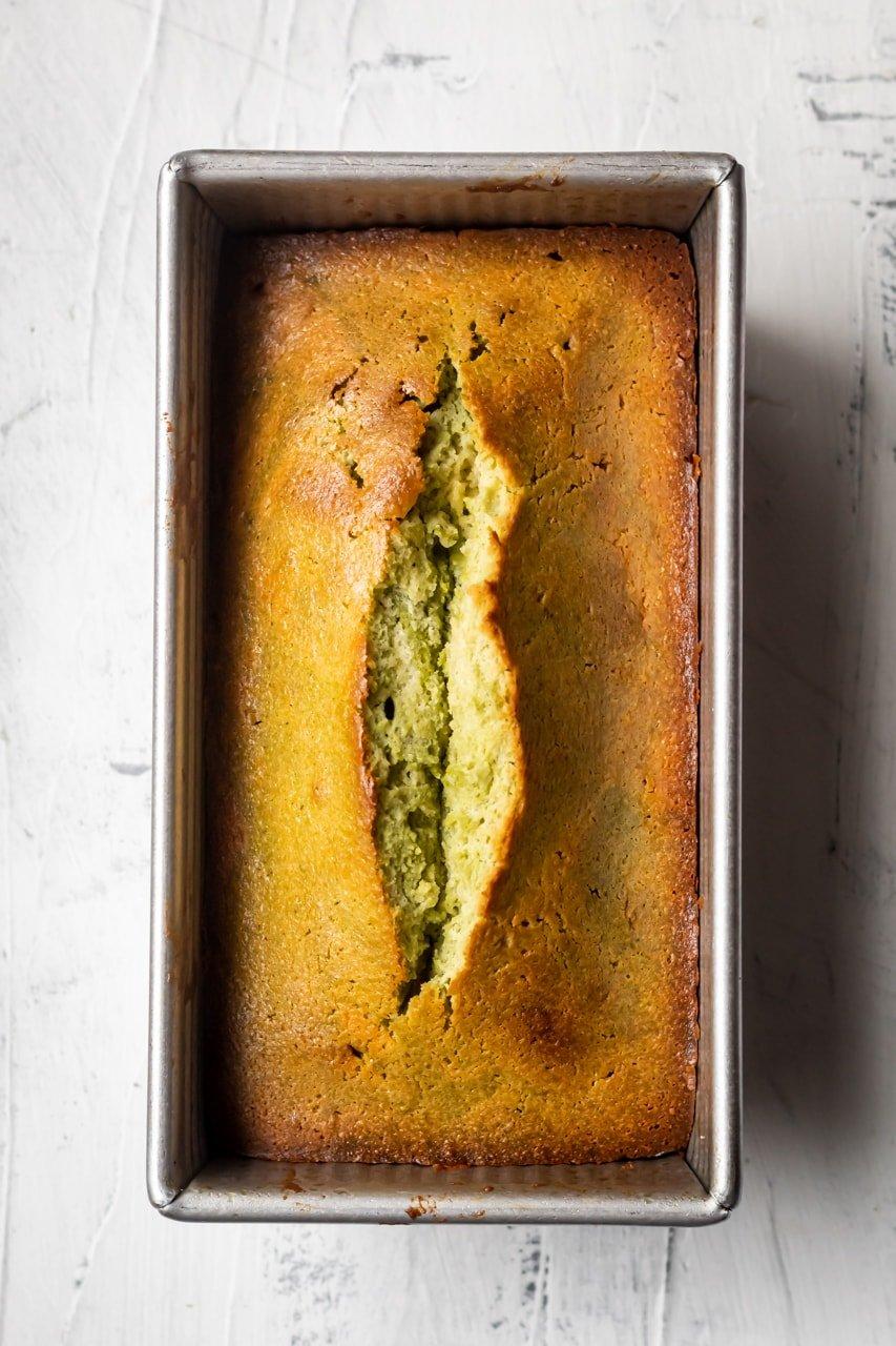 baked matcha pound cake