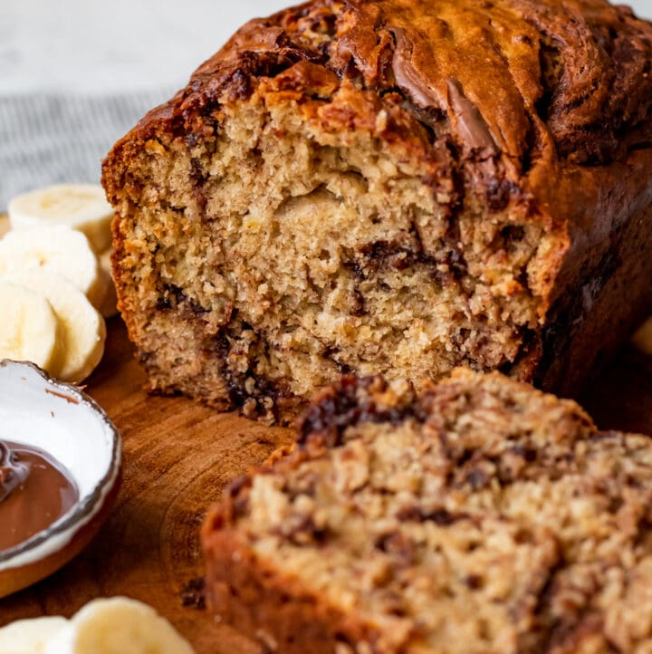 banana bread with a nutella swirl