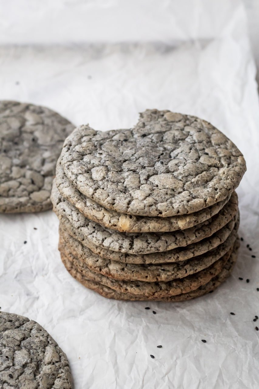 black sesame brownie cookies