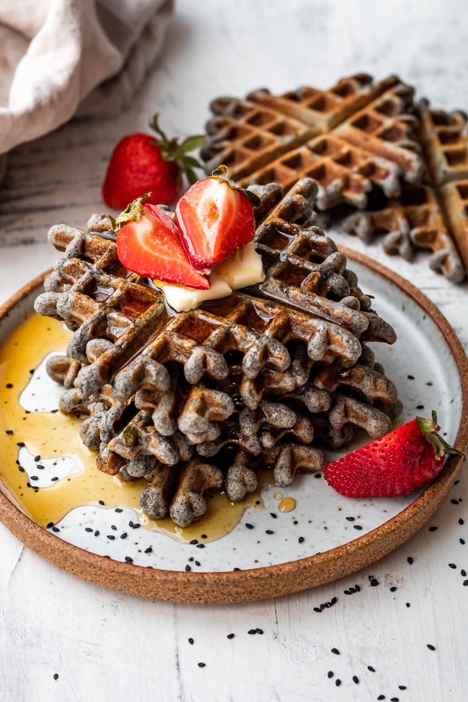black sesame waffles